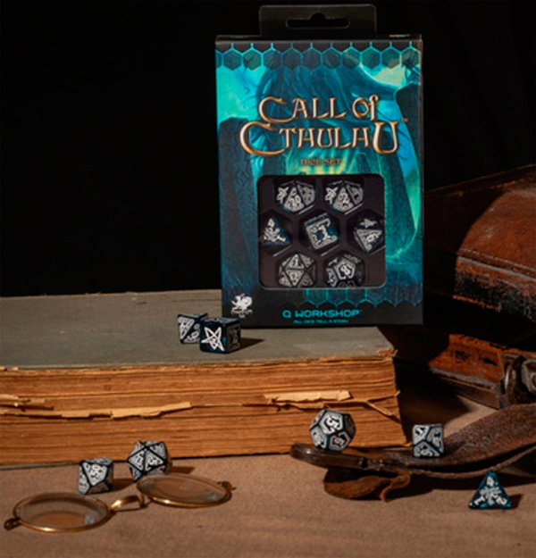 Q-Workshop Call of Cthulhu Abyssal white Dice Set (7 Poly Würfel)